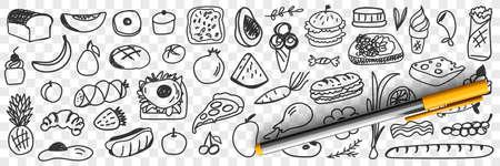 Fresh ingredients and foods doodle set