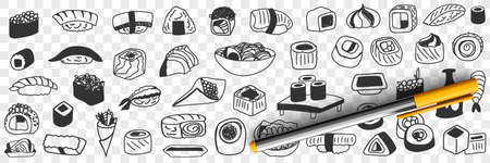Japanese traditional foods doodle set 向量圖像