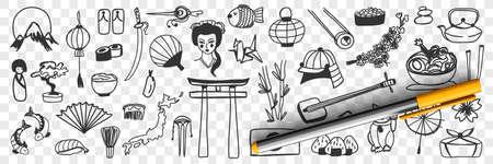 Japanese traditional symbols doodle set 向量圖像
