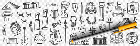 Symbols of history doodle set 向量圖像