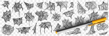 Spider web patterns doodle set 向量圖像