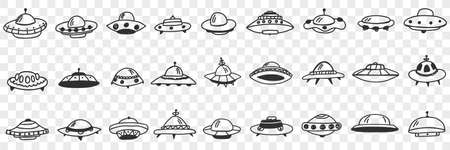 UFO and flying plates in cosmos doodle set