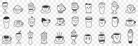 Cups and mugs for hot drinks doodle set
