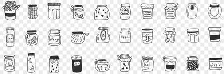 Jars and containers for food doodle set Illustration