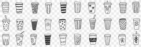 Reusable eco friendly glasses doodle set Illustration