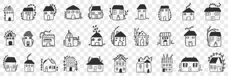Buildings and houses doodle set