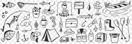 Fishing tools and accessories doodle set
