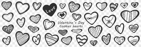 Valentines day hearts doodle set