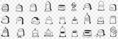 Monument on grave doodle set 向量圖像