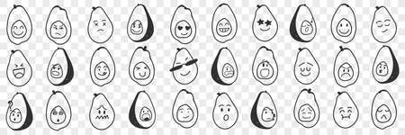 Funny avocado emoji doodle set
