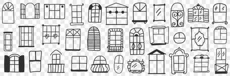 Windows and frames doodle set 向量圖像
