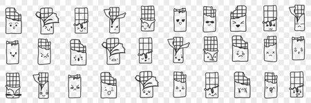 Packs with chocolate bars doodle set 向量圖像