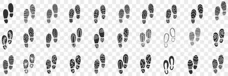 Footprints of boots doodle set