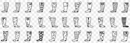 Rubber boots designs doodle set