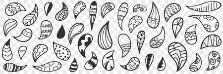Natural leaves or drops doodle set