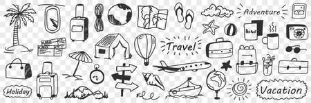 Vacations and adventure doodle set