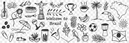 Brazilian traditional symbols doodle set. Illustration