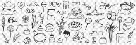 Sugar and ingredients for candies doodle set Illustration