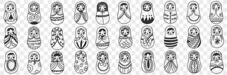 Russian doll matryoshka doodle set