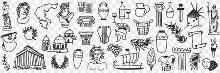 Symbols of ancient greek culture doodle set