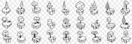 Decorative trees and plants doodle set