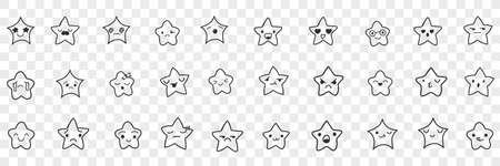 Stars with emoji faces doodle set