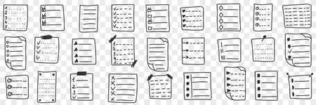 Fulfilled controlling checklists doodle set