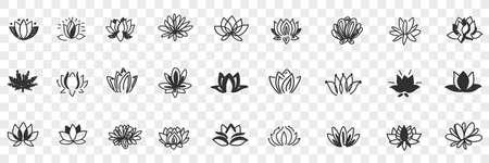 Lotus flowers pattern doodle set Illustration