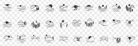 Natural landscapes views doodle set Illustration