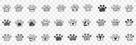 Animals paws footprints doodle set