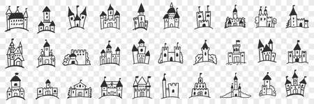 Castles facades with towers doodle set