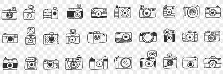 Photo camera with lens doodle set