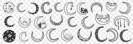 Natural moons pattern doodle set Illustration