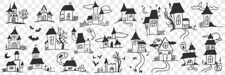 Buildings and houses with ghosts doodle set