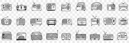 Vintage retro Radio tape recorder doodle set Illustration