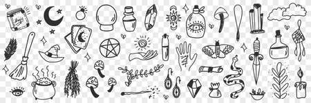 Esoteric witchcraft attributes doodle set
