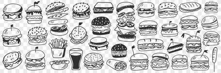 Burgers fast food doodle set Illustration