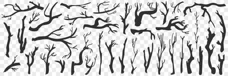 Tree branches pattern doodle set