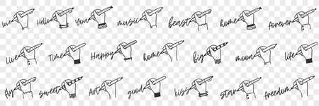 Writing human hand doodle set