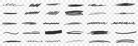 Thick and thin Scribbles lines drawings doodle set