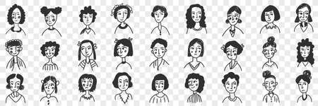 Hairstyles of brunette women and men doodle set