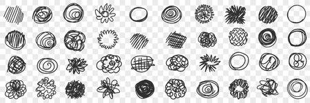 Curves circles scribbles lines doodle set