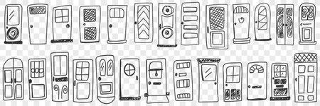Doors of various styles doodle set 向量圖像