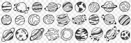 Planets in universe doodle set