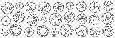 Circle gears with patterns doodle set