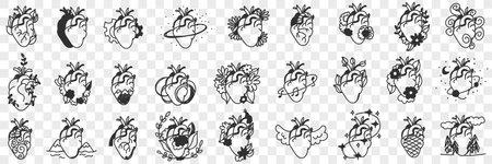 Human Hearts assortment doodle set 向量圖像