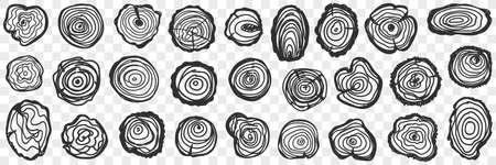 Fellings of tree pattern doodle set