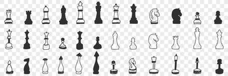 Chessmen on board doodle set 向量圖像
