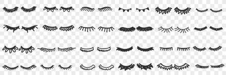 Eyelashes shapes assortment doodle set 向量圖像
