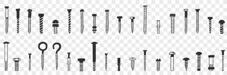 Nails and screws doodle set